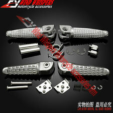 New Silver Front&Rear Footrests Foot pegs For Kawasaki Z750 Z800 Z1000 ER6F ER6N