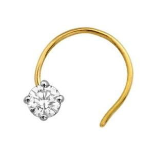 0.16ct Natural Diamond Solitaire Nose Stud Piercing Ring Pin 18k Gold VVS-F-G