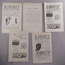Camera PRINT AD - 1891 - LOT of 5 Ads ~~ Kamaret, Hawk-Eye, Kodak, Premier