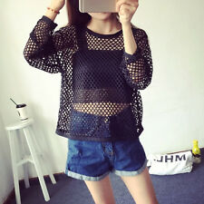 Fashion Women's Raw Cut Hem Long Sleeve Net Mesh Top Shirt Blouse Tee Clubwear