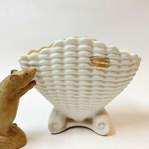 Vintage RAYNHAM Scallop Shell Vase w Original Stickers, Glazed Yellow Interior
