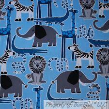 New listing BonEful Fabric Cotton Quilt Blue B&W Baby Boy Zoo Animal Zebra Elephant 4H Scrap