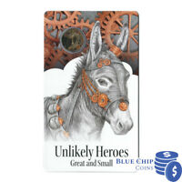 2015 UNC $1 UNLIKELY HEROES GREAT & SMALL MURPHY THE DONKEY COIN ON CARD