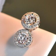 LGE 18K WHITE GOLD FILLED STUD EARRINGS MADE WITH  SWAROVSKI CRYSTALS GIFT WG20