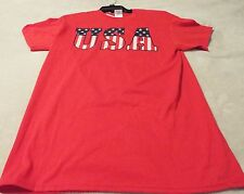 USA Men's X-Large Tee Red With USA Graphics On The Front~100% Cotton~ Nice Tee