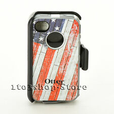 OtterBox Defender Rugged Case fo iPhone 4 4S w/Holster Belt Clip Rustic USA Flag