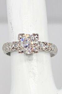 Antique 1950s $7000 1.50ct Natural Diamond Platinum Wedding Ring