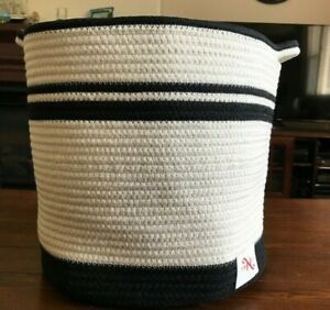 Iceblue Small Cotton Rope Basket Woven Storage Basket Kids Home Decor Toy Basket Organizer with Handle(11x7x3.9-Black with White)