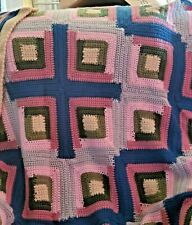 New! Handmade Crochet Blanket Throw Afghan - brown, cream, grey, plum