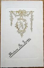 Menu: French, 1934 Handwritten Wedding w/Gold-Emossed Cover