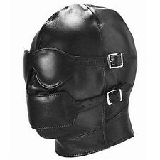 Faux/PU Leather Full Blindfold Mask Hood W/Eyepatch & Mouth Ball Gag roleplay BT