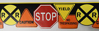 NEW 1 ROLL 5yd. WALLPAPER BORDER KIDS ROOM STOP SIGN CAUTION RAILROAD TRESPASS