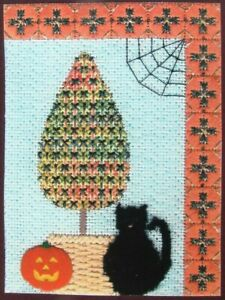 Needlepoint Pattern  October Topiary of the Month/Canvas/Raffia/Button-IW69