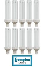 10x Crompton 13w Compact Fluorescent 2 Pin Double Turn D Type Cool white 4000K