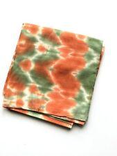 Greenish Orange Shibori Hand Tie Dyed Silk Fabric with Natural Dyes by Yardage