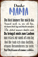 Danke Mama Blechschild Metallschild Schild gewölbt Metal Tin Sign 20 x 30 cm
