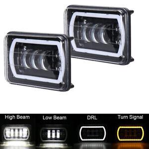 """2X 4x6"""" led Headlights DRL Amber Halo Turn Signal for Trucks Kenworth Peterbilt"""