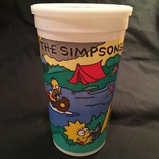 1990 BURGER KING THE SIMPSON'S CAMPING CUP WITH LID