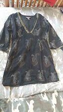 PEPPERMINT BAY KURTA TUNIC INDIAN PAISLEY DESIGN BLACK GOLD SILVER DRESS/SHIRT