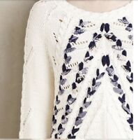 Anthropologie Knitted and Knotted Ivory Ribbon Sweater Size - S