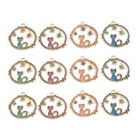 16pcs Gold Tone Alloy Enamel Cat & Star Round Pendants Charms for Jewelry Making