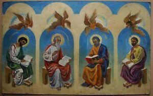 Russian Ukrainian Soviet Oil Painting Saints apostles religious art icon sacred