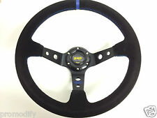 350mm Suede Leather Deep Dish Steering Wheel OMP MOMO Blue Drift NARDI SPARCO