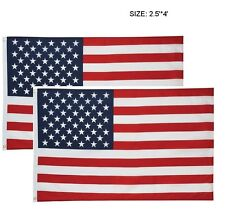 2 New American Flag US Flag Polyester Stars Brass Grommets 2.5X4' American Flag