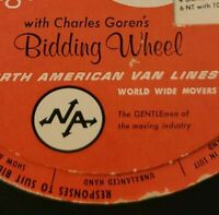 Vtg North American Van Lines Movers 1960s Advertising Bridge Bidding Wheel