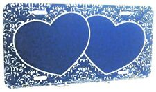 Twin heart blue license plate customized new aluminum auto tag add names car4635