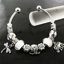 BRACELET BANGLE GENUINE REAL 925 STERLING SILVER SF SOLID BEAD CUFF CHARM DESIGN