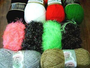 Job lot of  christmas knitting yarn eyelash/gold fingering/plain  @LOOK@
