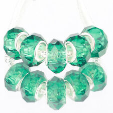 Crystal peacock green 5pc MURANO glass bead LAMPWORK fit European Charm Bracelet