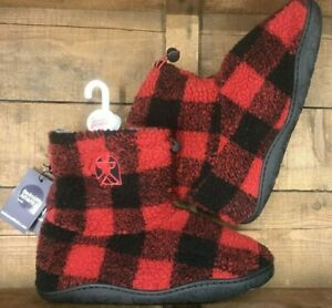 Men's Bedroom Athletic 'Hardy' boot slippers red/black check