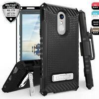 For LG Stylo 4 / 4 Plus Phone Case Metal Kickstand Holster+Black Tempered Glass