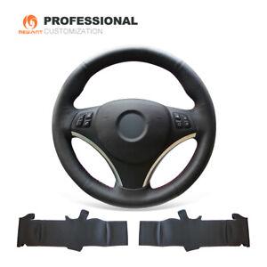 Car Steering Wheel Cover Black Real Leather for BMW 1 Series E81 E90 E91 E92 E93