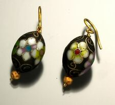 Gold Cloisonné Drop Earrings Vintage Pair of 18K Yellow