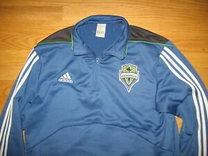 SEATTLE SOUNDERS FC SOCCER SEWN ON PATCHES MLS PULL OVER JACKET BY ADIDAS MENS L