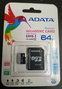 64Gb Premier MicroSDXC Class 10 Flash Memory Card With Adapter