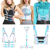 Sexy Women Cupless PVC Open Bust Body Chest Bra Harness Adjustable Belt Clubwear