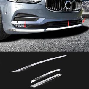 3pcs Mirror S.steel Front Bumper Cover Trim For Volvo S90 2017 2018 2019 2020