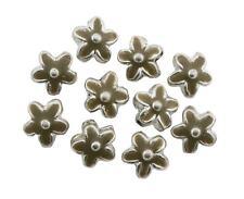 Silver Metal Flower Beads Enamelled Brass 15mm Pack of 10 (D13/8)