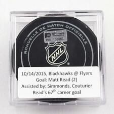 2015-16 Matt Read Philadelphia Flyers Game-Used Goal-Scored Puck -Simmonds Ast.