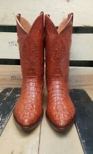 Mens Western Cowboy Boots Cognac Crocodile Skin Head Cut J Toe Size 7 MADE USA