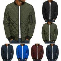 Men's Coat Winter Down Jacket Lightweight Packable Stand Collar Puffer Bomber