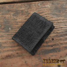 Black Hippo Trifold Wallet Amish Made from Genuine Hippopotamus Hide Tri Fold