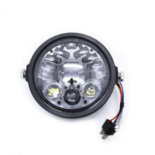 Motorcycle 5.75'' Black LED DRL Projector Headlight Headlamp For Harley Custom
