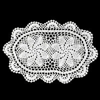 """4Pcs/Lot Hand Crochet Lace Doilies Oval Cotton Table Placemats 10""""x16"""" White"""