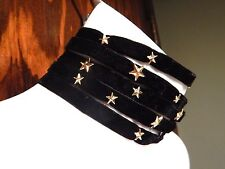 WIDE BLACK MULTI-STRAND VELVET CHOKER gold star studs punk goth astrology new T5