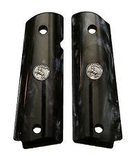 AJAX Custom For 1911 Gov Full Size Grips BLACK Pearlite SILVER Colt Medallion